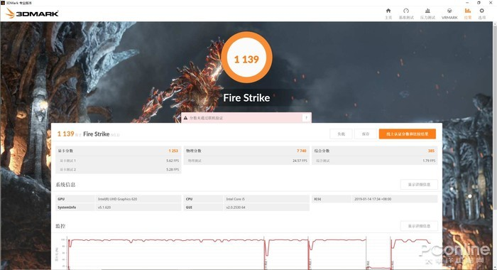3DMARK Fire Strike 1139分